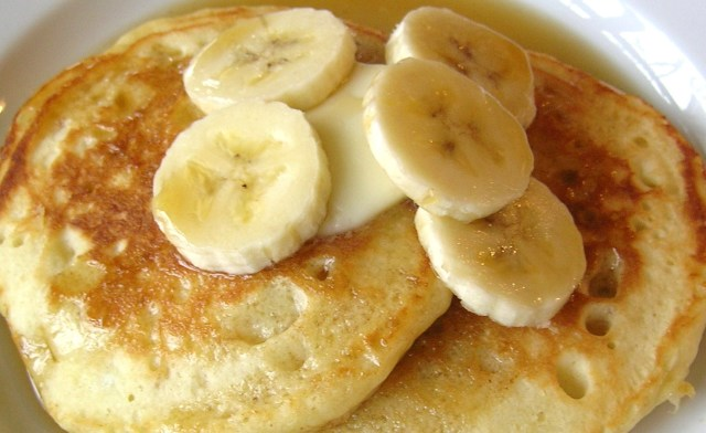 Banana Sour Cream Pancakes Close-up